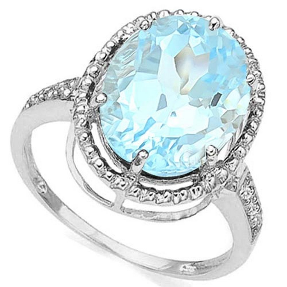 4.16 CTW BLUE TOPAZ & DIAMOND 10KT SOLID GOLD RING #IRS57153