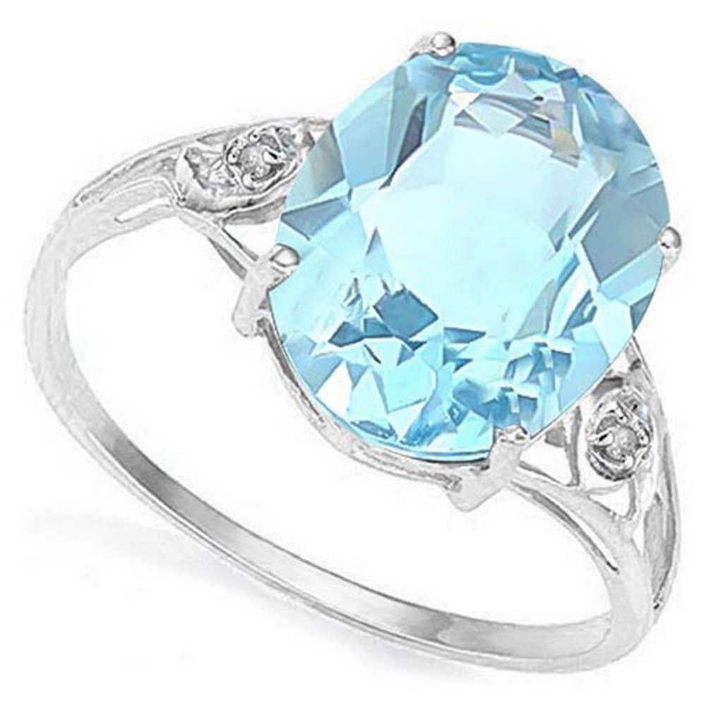 4.4 CTW BABY SWISS BLUE TOPAZ & GENUINE DIAMOND (2 PCS) 10KT SOLID WHITE GOLD RING #IRS57208