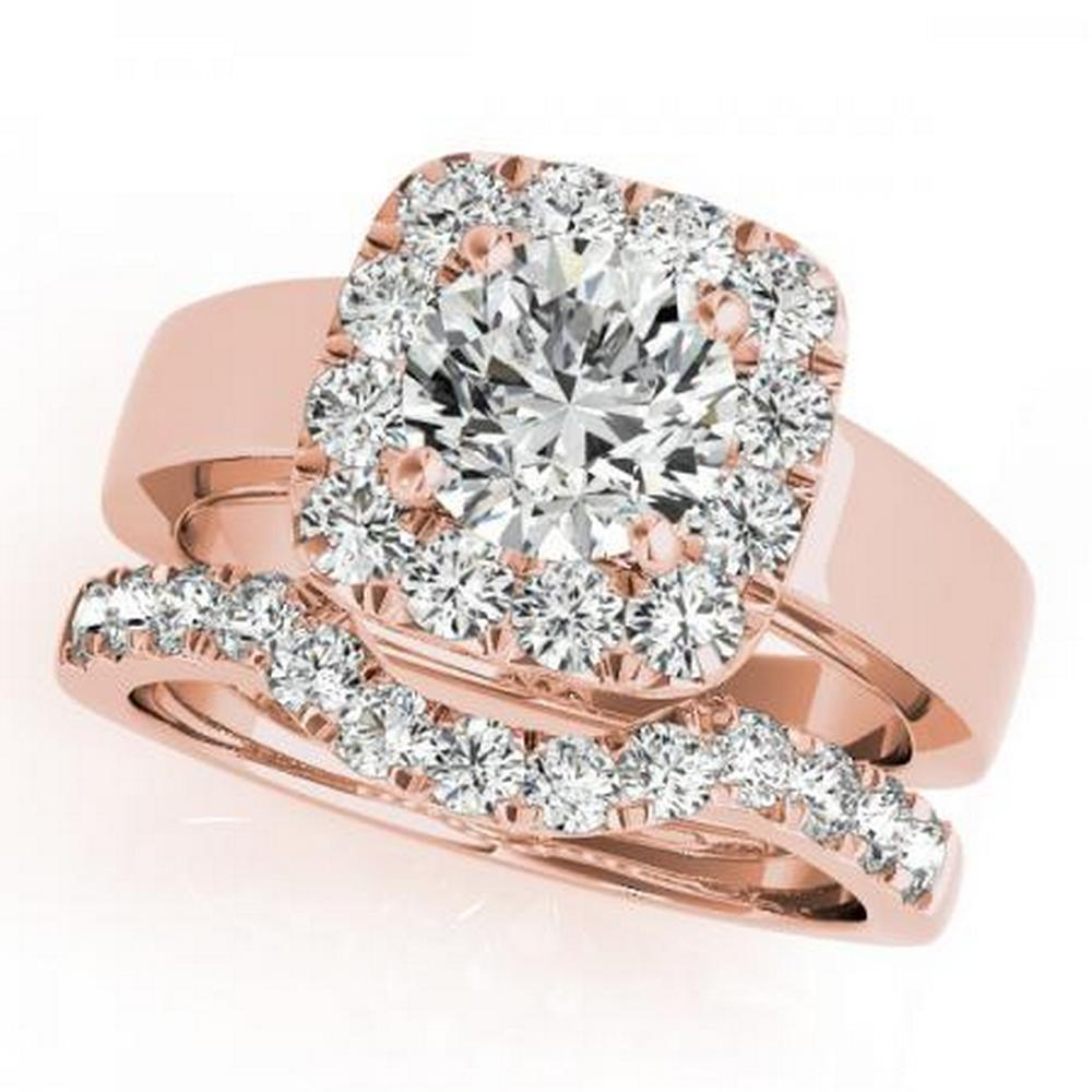 CERTIFIED 14KT ROSE GOLD 1.19 CTW G-H/VS-SI1 DIAMOND HALO BRIDAL SET #IRS86247
