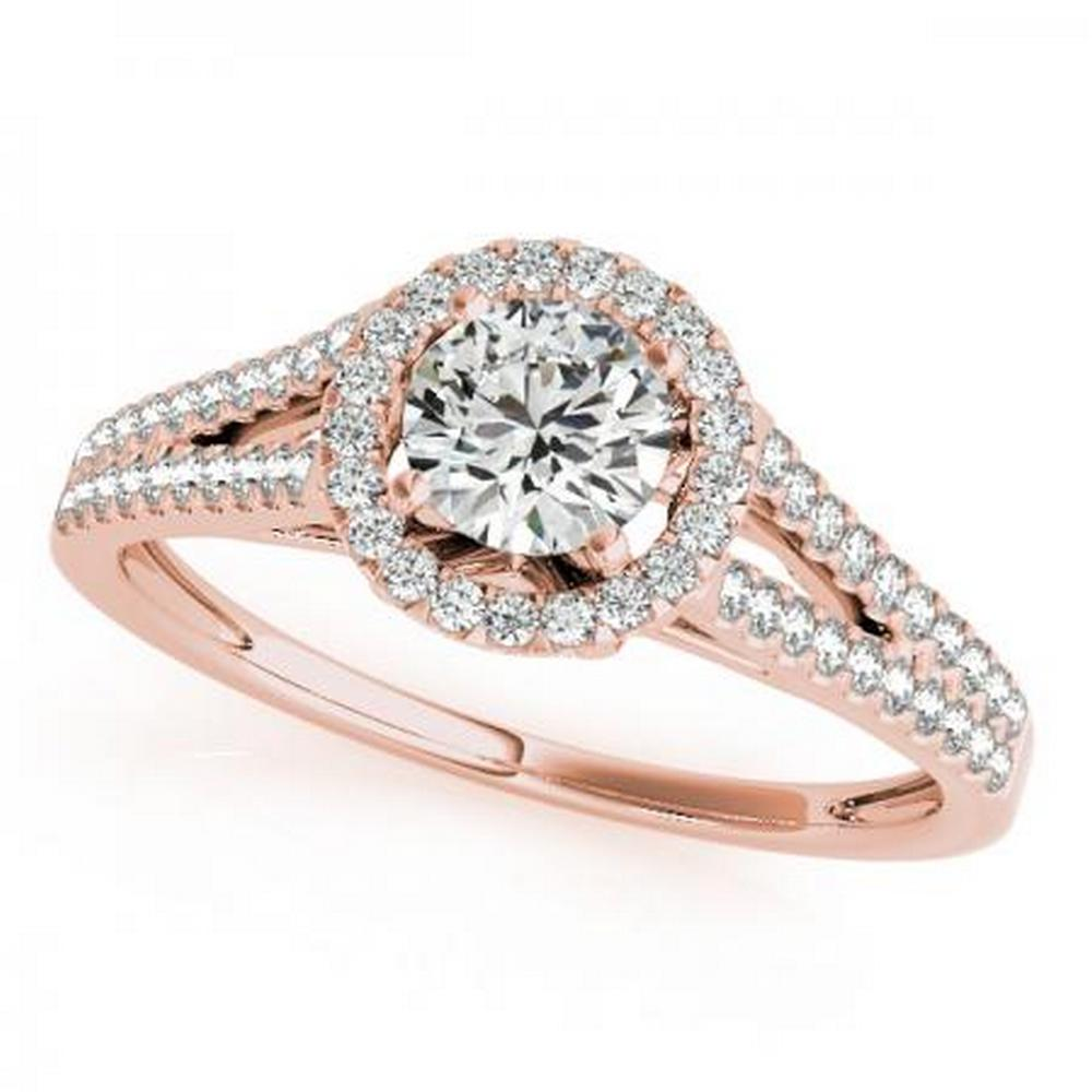 CERTIFIED 18K ROSE GOLD 1.11 CT G-H/VS-SI1 DIAMOND HALO ENGAGEMENT RING #IRS86337