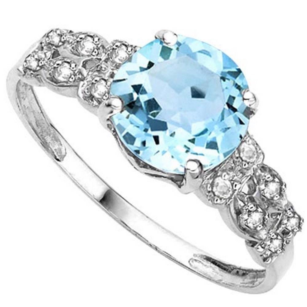 2.37 CTW GENUINE SKY BLUE TOPAZ & GENUINE DIAMOND (12 PCS) 10KT SOLID WHITE GOLD RING #IRS80864