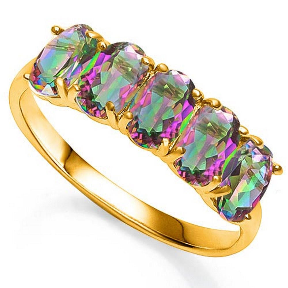 2.0 CTW MYSTIC GEMSTONE 10KT SOLID YELLOW GOLD RING #IRS57233