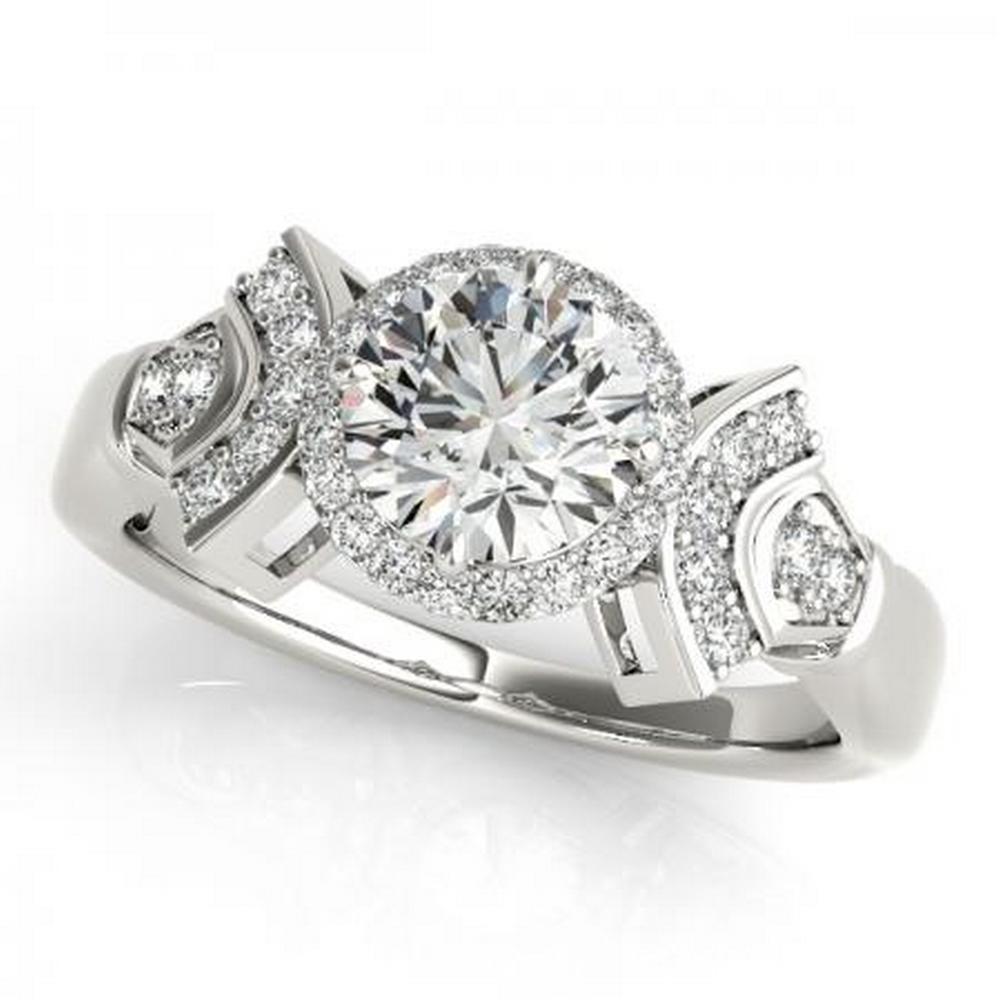 CERTIFIED PLATINUM .94 CTW G-H/VS-SI1 DIAMOND HALO ENGAGEMENT RING  #IRS86146