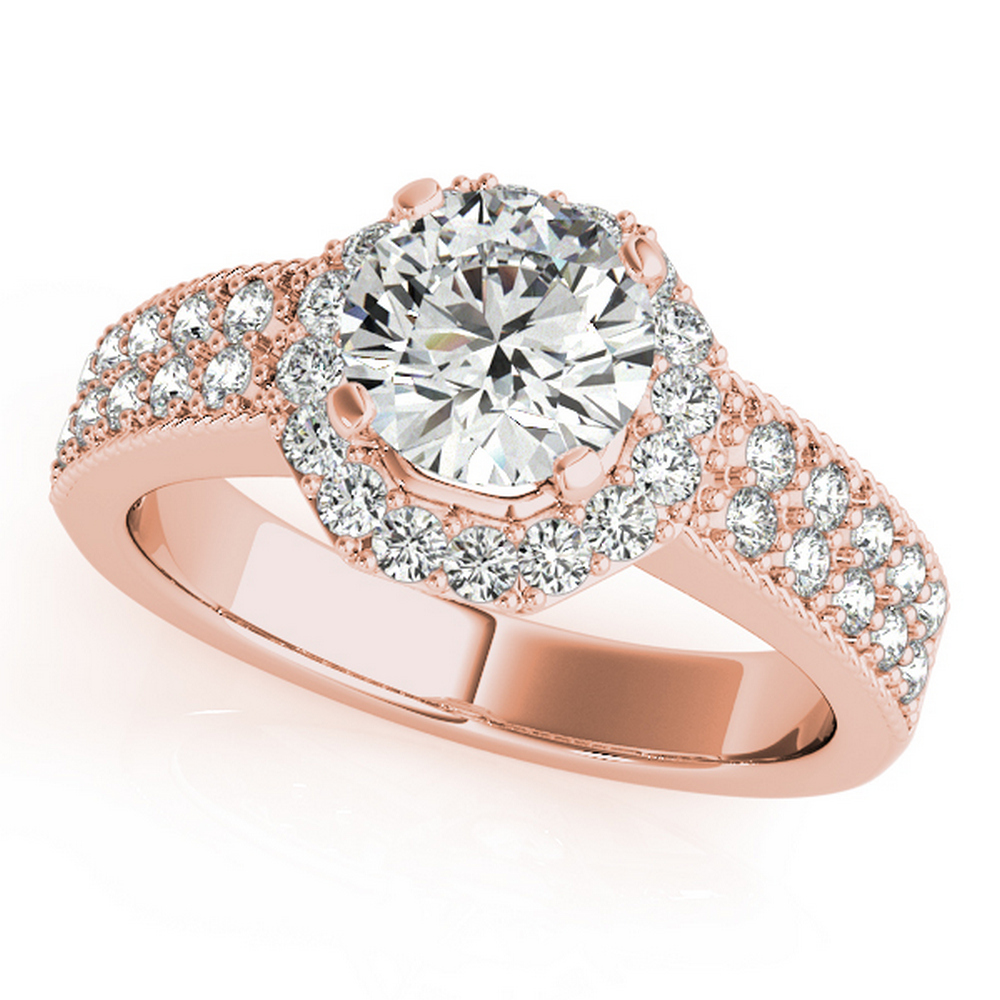 CERTIFIED 18K ROSE GOLD 1.01 CT G-H/VS-SI1 DIAMOND HALO ENGAGEMENT RING #IRS86299