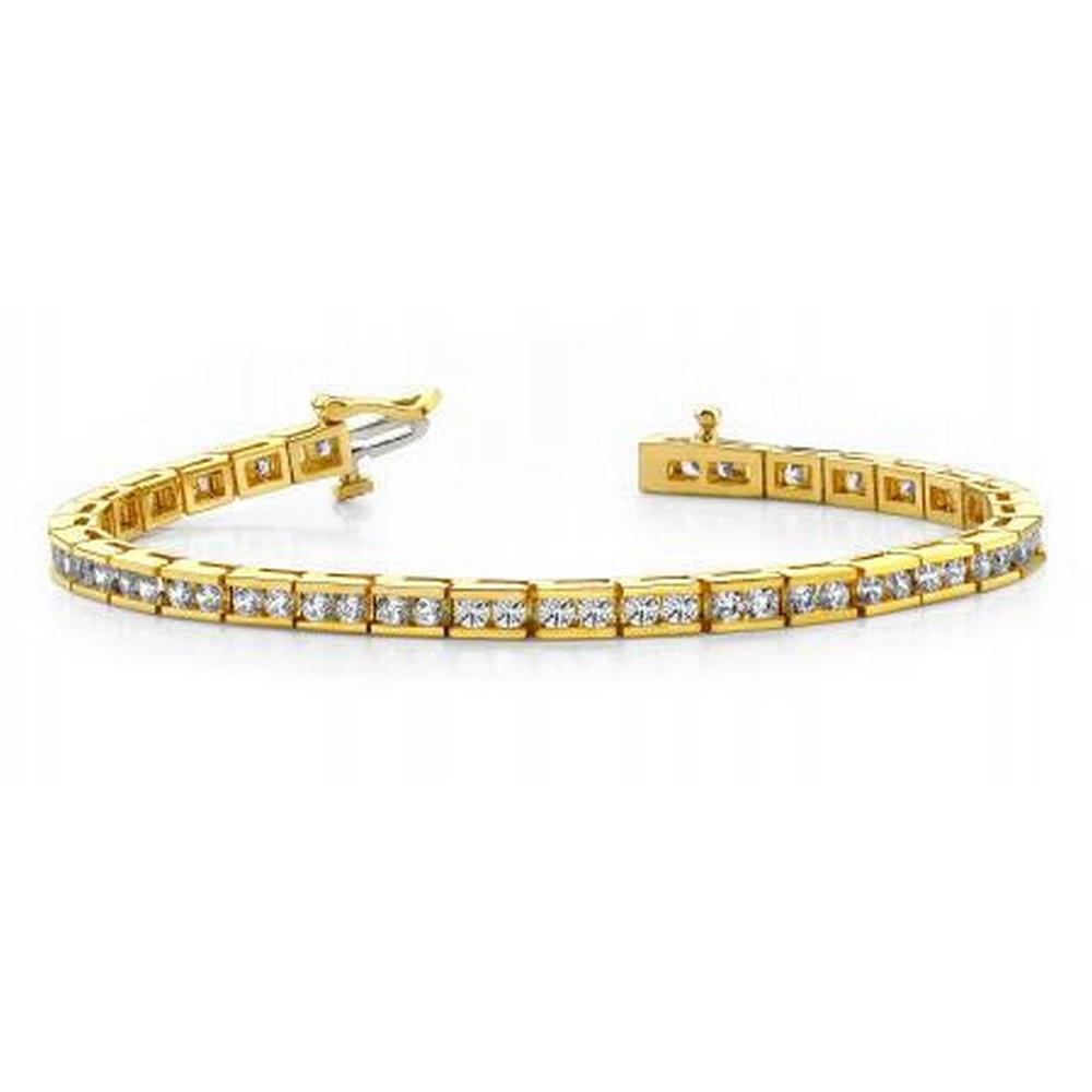 14KT YELLOW GOLD 4 CTW G-H SI2/SI3 TIMELESS ROADWAY DIAMOND TENNIS BRACELET #IRS20196
