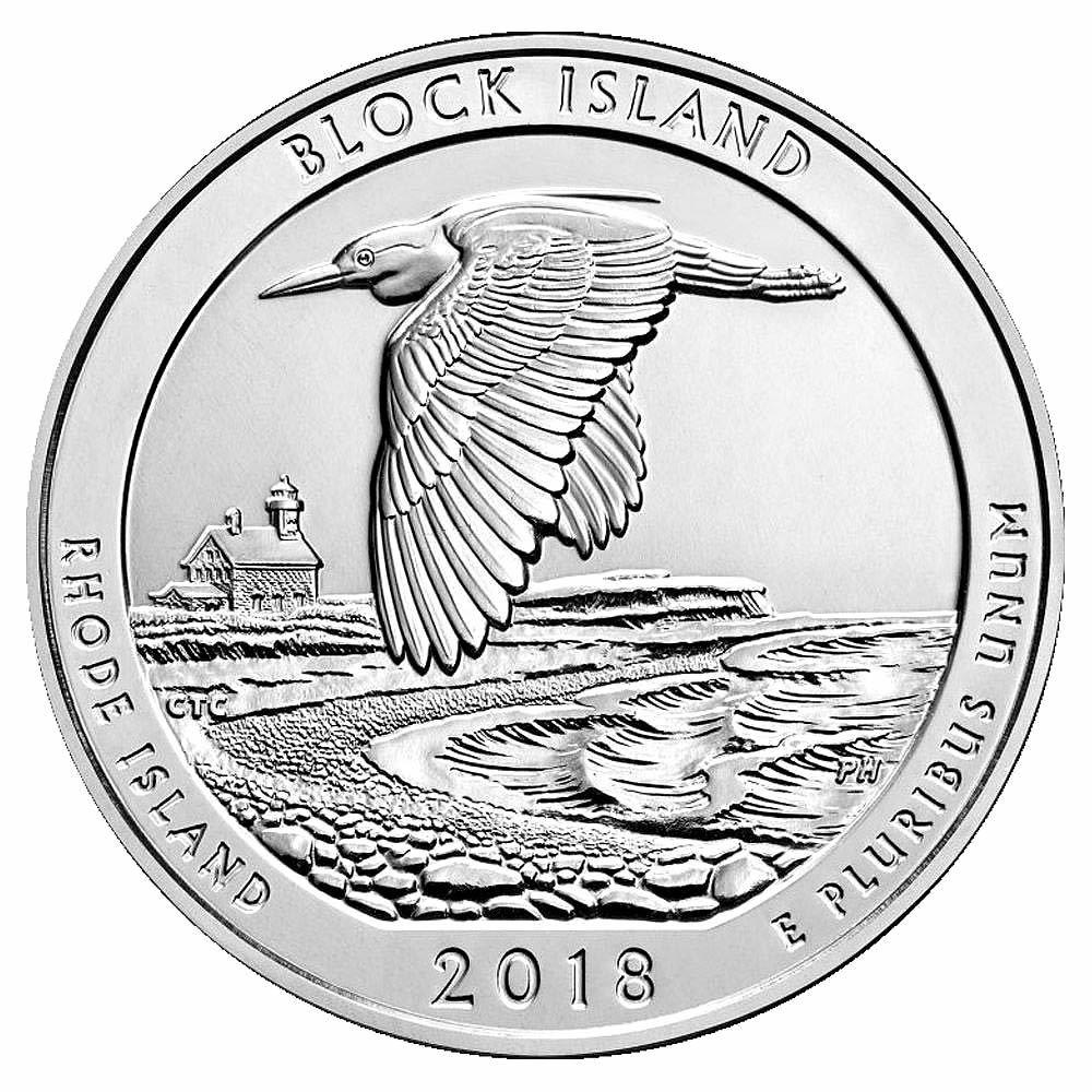 2018 Silver 5oz. Block Island National Wildlife Refuge RI ATB #IRS81443