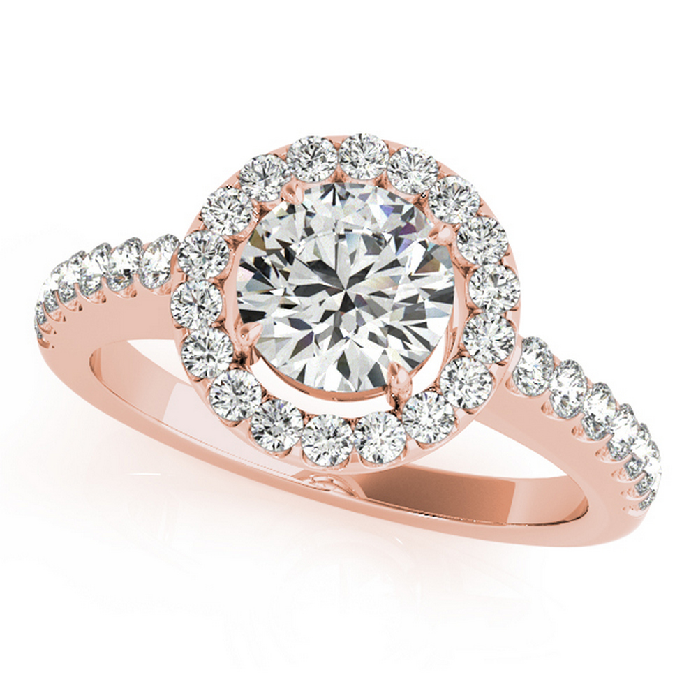 CERTIFIED 18K ROSE GOLD 1.03 CT G-H/VS-SI1 DIAMOND HALO ENGAGEMENT RING #IRS86331