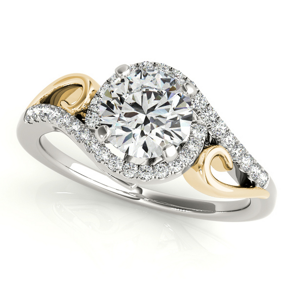 CERTIFIED 14 k  TWO TONE GOLD 1.00 CT G-H/VS-SI1 DIAMOND HALO ENGAGEMENT RING #IRS86305