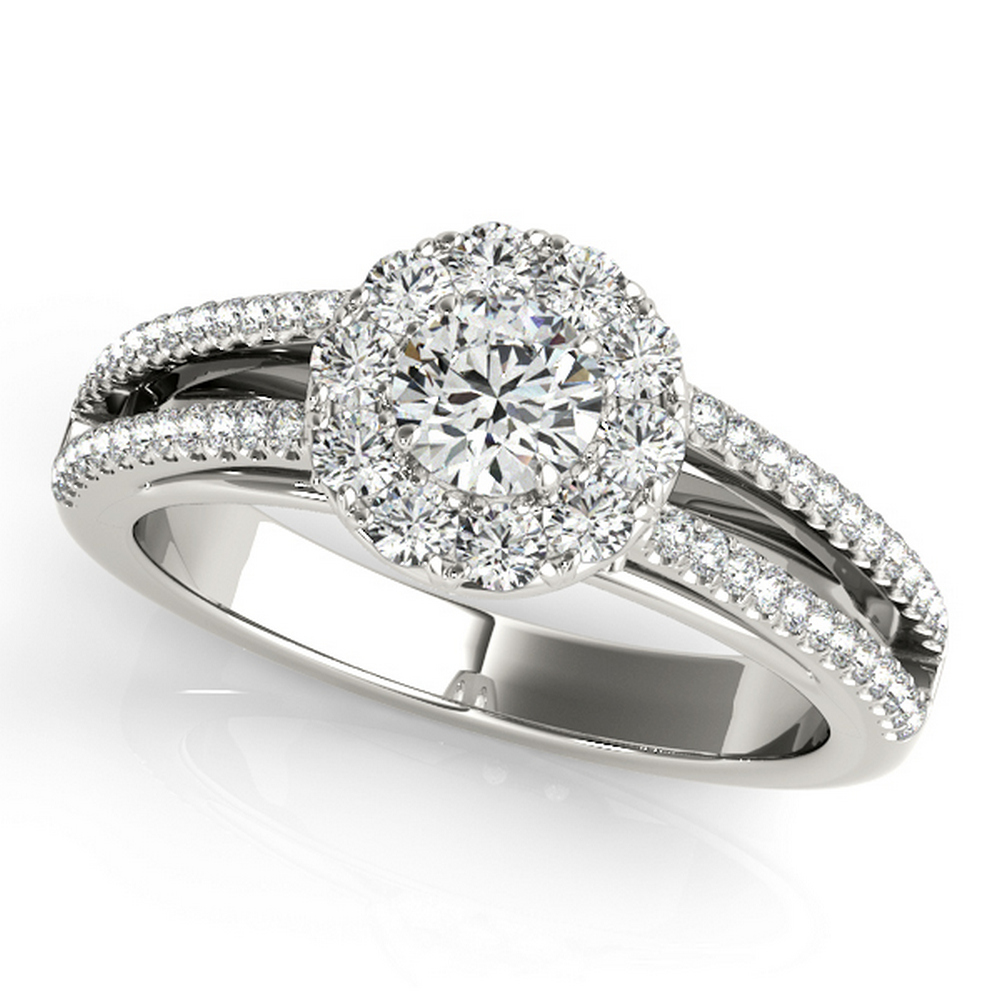 CERTIFIED TWO TONE GOLD 1.14 CT G-H/VS-SI1 DIAMOND HALO ENGAGEMENT RING #IRS86315