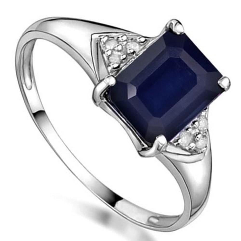 2 CTW BLACK SAPPHIRE & GENUINE DIAMOND (6 PCS) 10KT SOLID WHITE GOLD RING #IRS57200