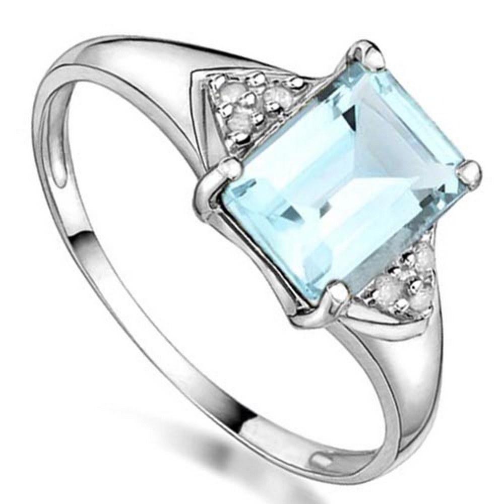 1.05 CTW GENUNE AQUAMARINE & GENUINE DIAMOND (6 PCS) 10KT SOLID WHITE GOLD RING #IRS57204