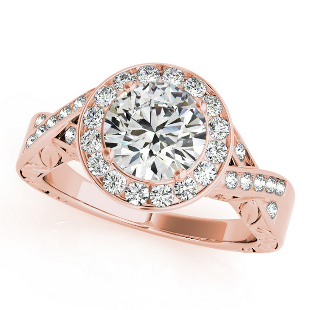 CERTIFIED 18K ROSE GOLD 1.01 CT G-H/VS-SI1 DIAMOND HALO ENGAGEMENT RING #IRS86279