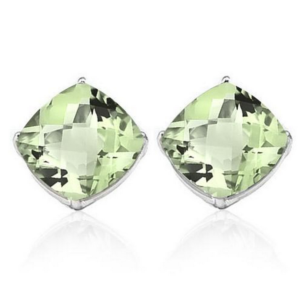 1.7 CTW GREEN AMETHYST 10K SOLID WHITE GOLD CUSHION SHAPE EARRING #IRS37043