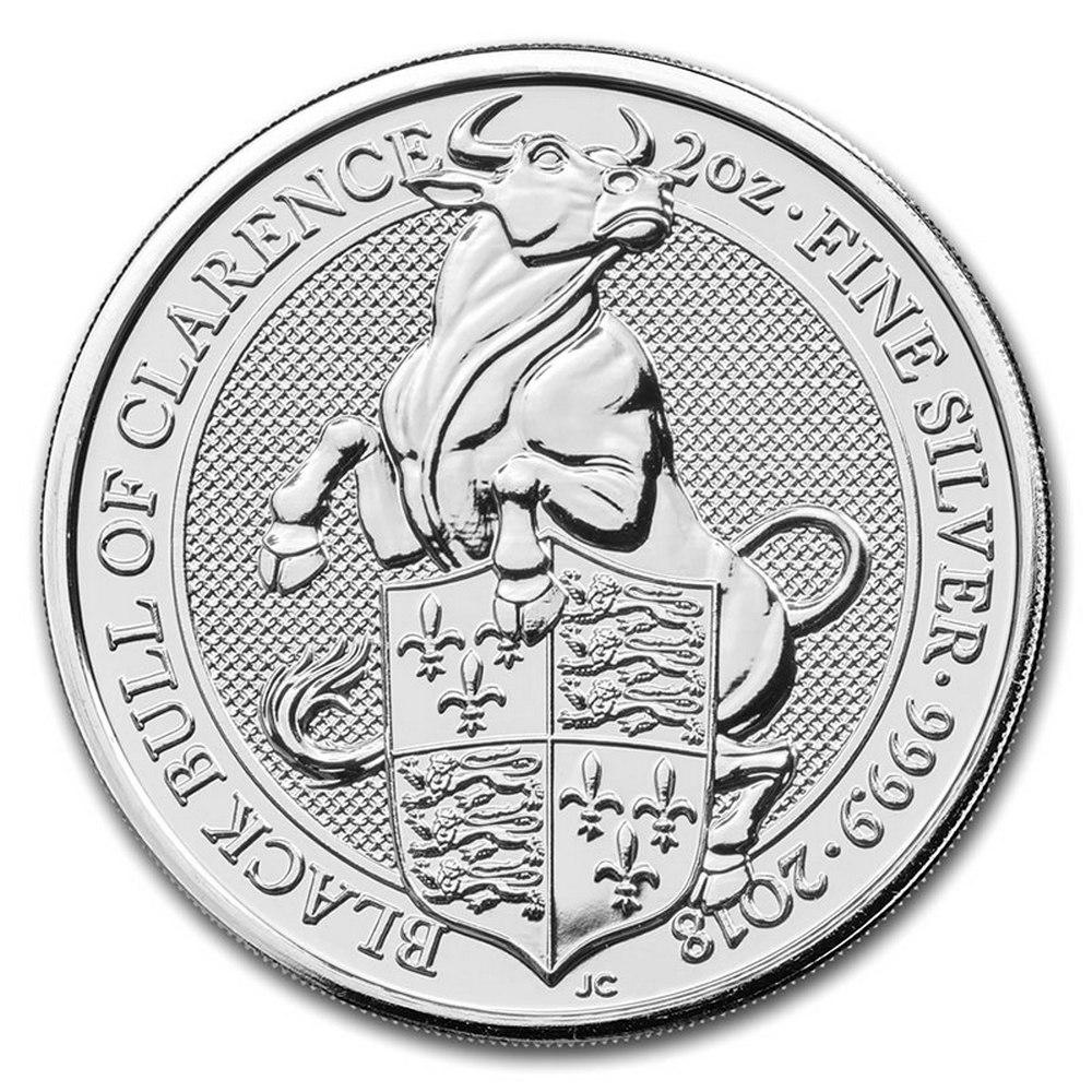2018 2 oz British Silver Queen?s Beast Black Bull Coin (BU) #IRS81329