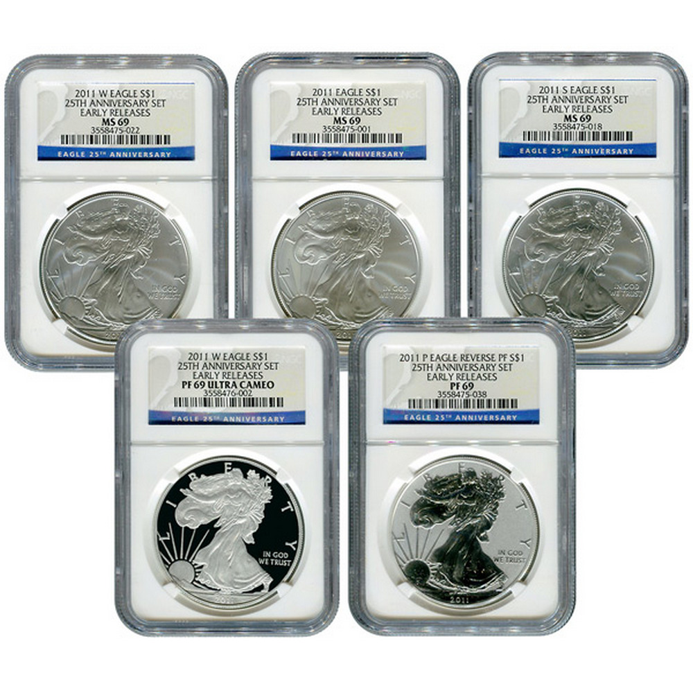 Certified 2011 American Eagle 25th Anniversary 5pc Silver Set MS & PF69 NGC #IRS81426