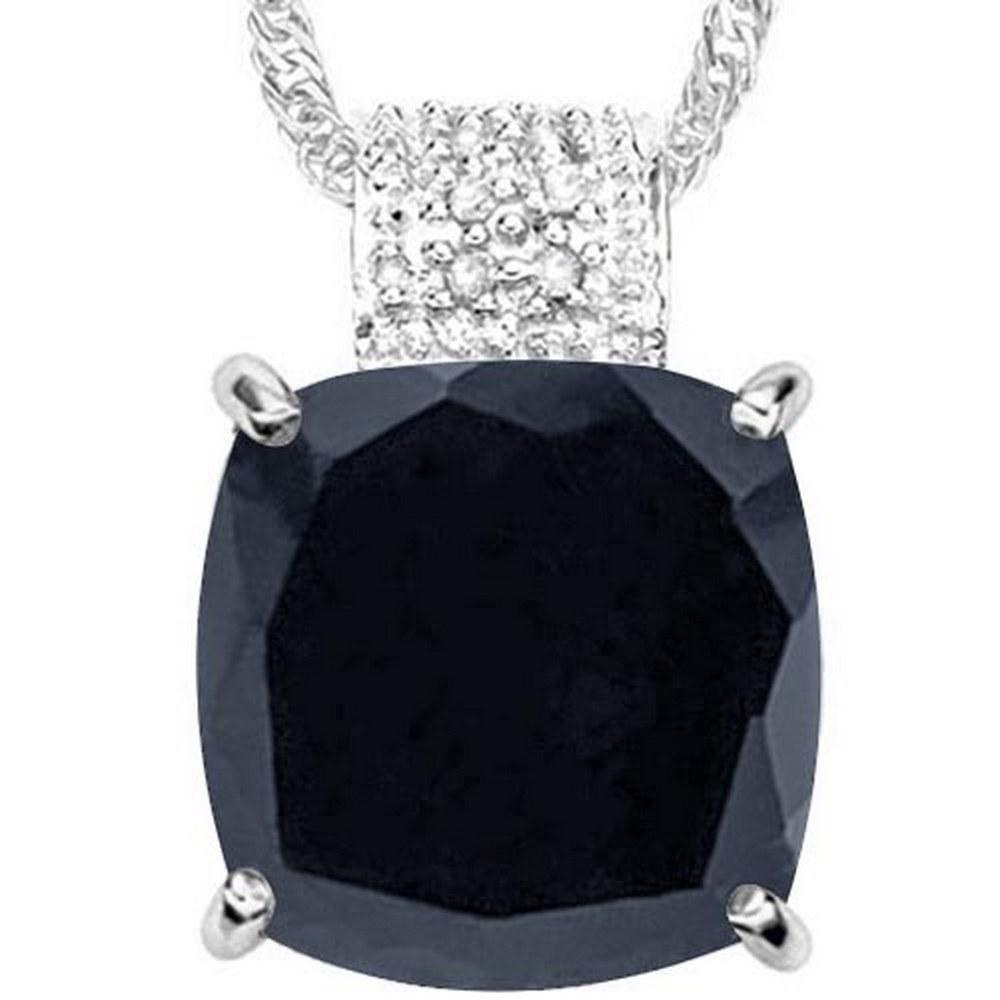 9.1 CTW BLACK SAPPHIRE & GENUINE DIAMOND (8 PCS) 10KT SOLID WHITE GOLD PENDANT #IRS57259