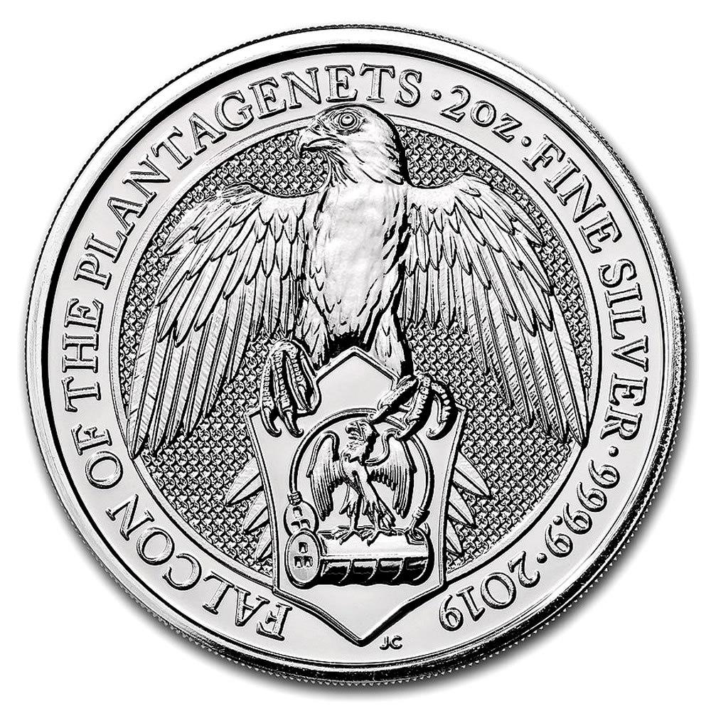2019 2 oz British Silver Queen?s Beast Falcon Coin (BU) #IRS81338