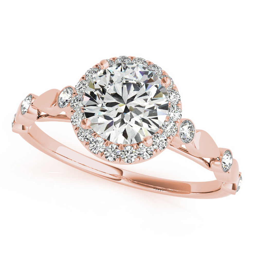 CERTIFIED 18K ROSE GOLD 1.56 CTW G-H/VS-SI1 DIAMOND HALO ENGAGEMENT RING #IRS86341
