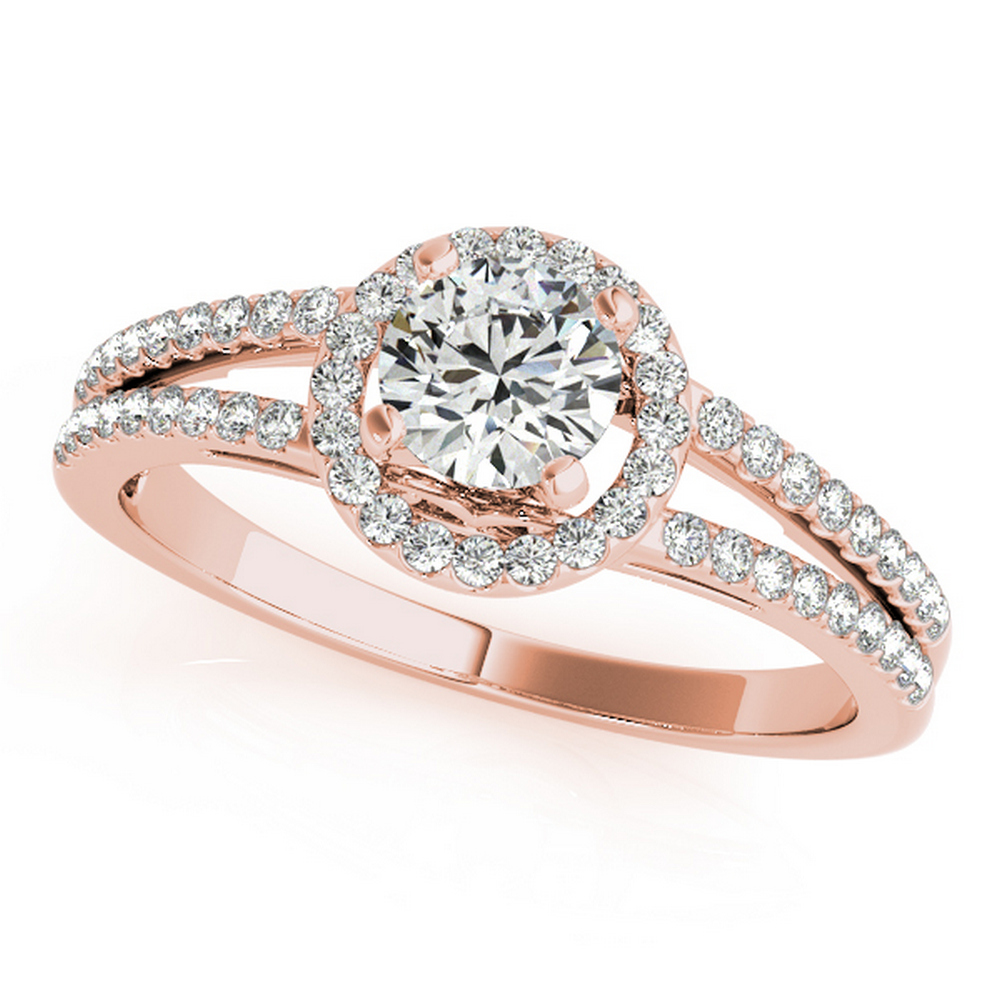 CERTIFIED 18K ROSE GOLD .95 CT G-H/VS-SI1 DIAMOND HALO ENGAGEMENT RING #IRS86338