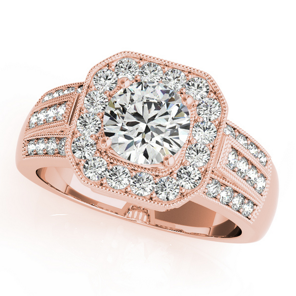 CERTIFIED 18K ROSE GOLD 1.20 CT G-H/VS-SI1 DIAMOND HALO ENGAGEMENT RING #IRS86271