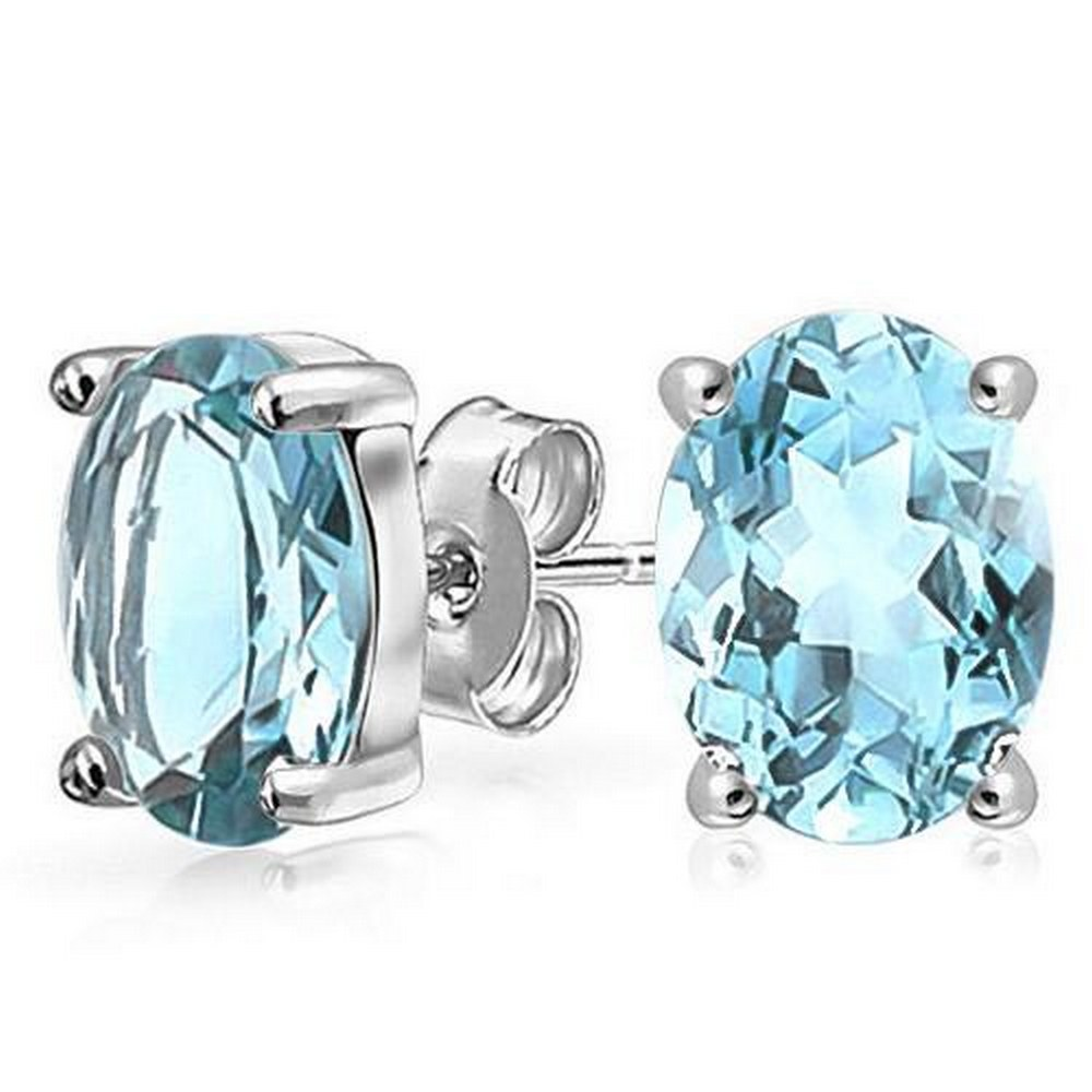 1.9 CTW SKY BLUE TOPAZ 10K SOLID YELLOW GOLD OVAL SHAPE EARRING #IRS37016