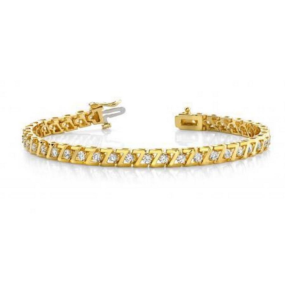 14KT YELLOW GOLD 1 CTW G-H VS2/SI1 Z LINK PRONG SET DIAMOND TENNIS BRACELET #IRS20156