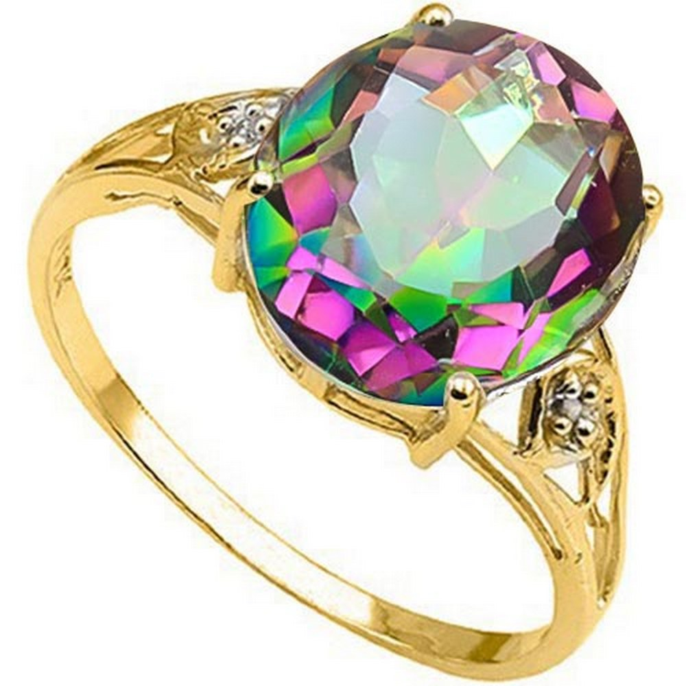 4.3 CTW MYSTIC GEMSTONE & GENUINE DIAMOND (2 PCS) 10KT SOLID YELLOW GOLD RING #IRS80869