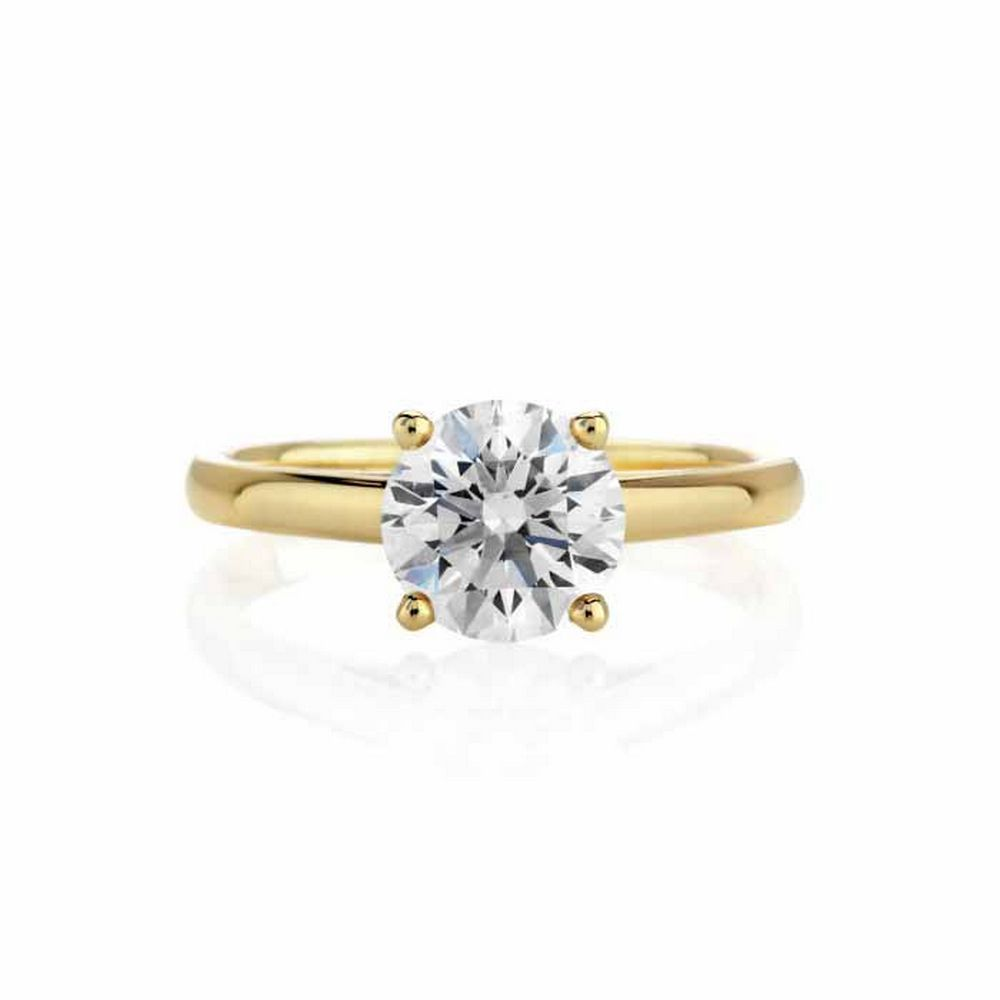 CERTIFIED 0.5 CTW E/VS1 ROUND DIAMOND SOLITAIRE RING IN 14K YELLOW GOLD #IRS24879