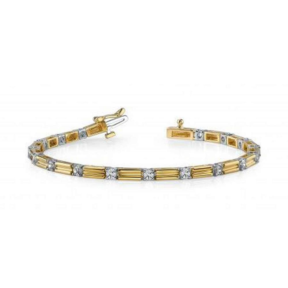 14KT TWO TONE GOLD 1.25 CTW G-H SI2/SI3 MEMENTO SINGLE DIAMOND AND LINK BRACELET #IRS20271