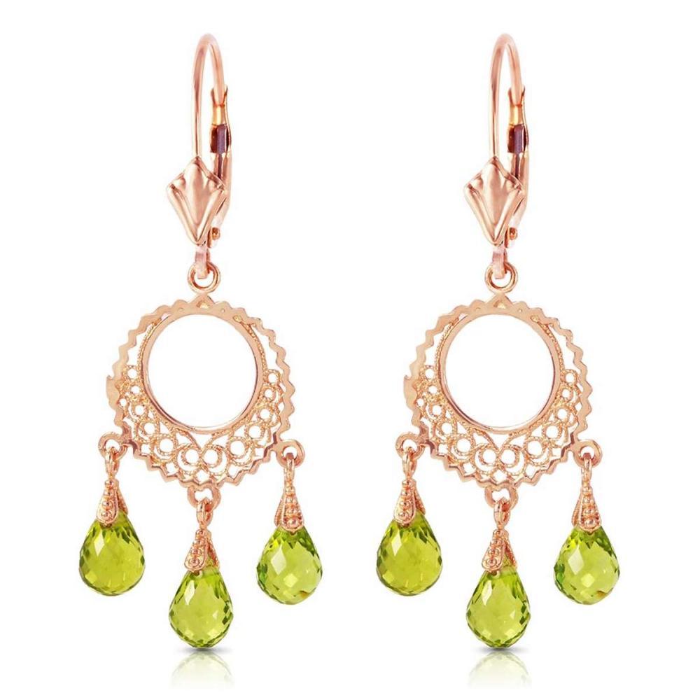 3.75 CTW 14K Solid Rose Gold Filigree Chandelier Earrings Peridot #IRS91743
