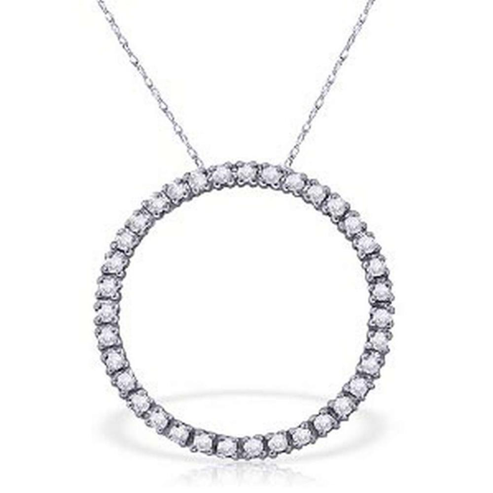 0.52 CTW 14K Solid White Gold Diamond Circle Of Love Necklace #IRS92266