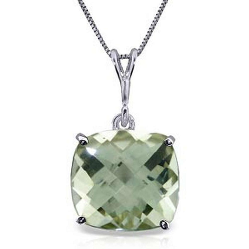3.6 CTW 14K Solid White Gold Necklace Natural Checkerboard Cut Green Amethyst #IRS92722