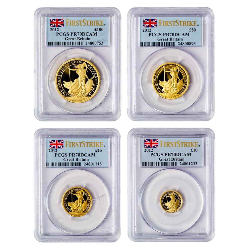 Certified UK Britannia Proof Gold 2012 4-Piece Set PR70 PCGS First Strike #IRS51400