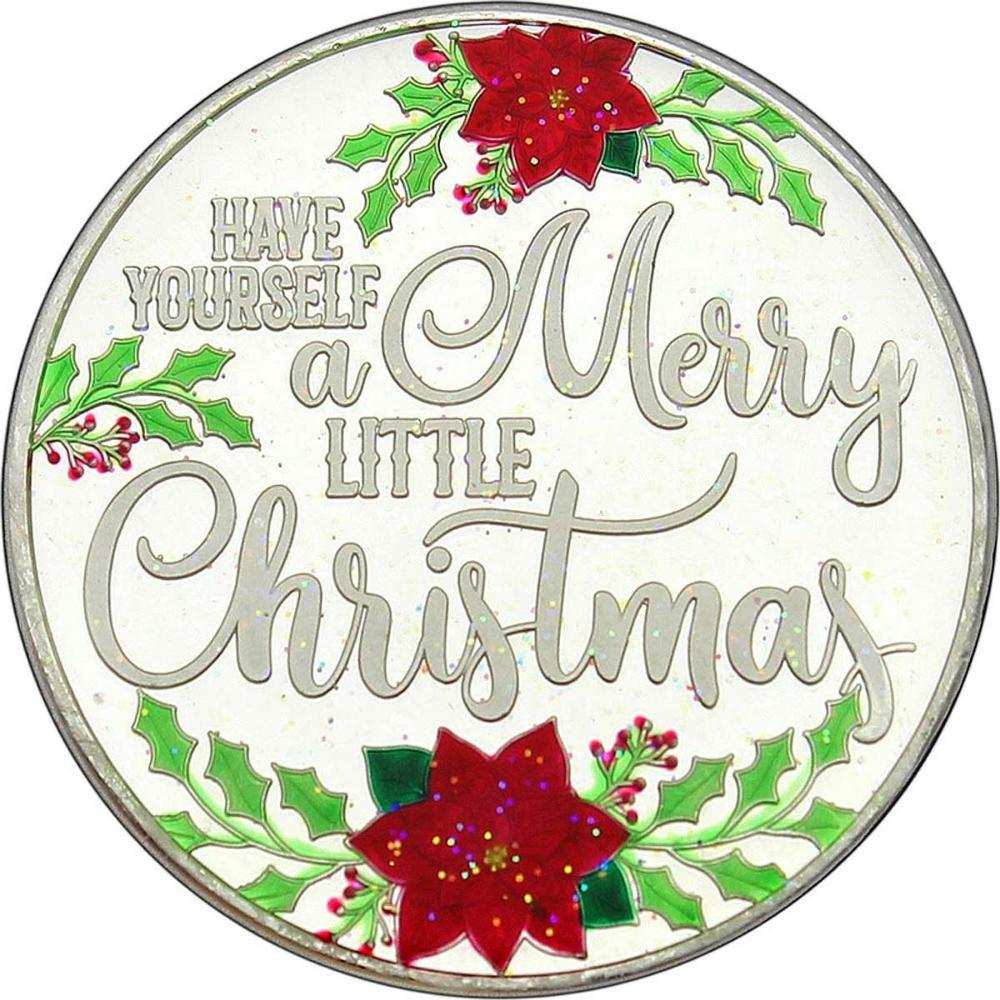 Enameled Christmas 2018 Silver Round XE-12 Merry Little Christmas #IRS51160