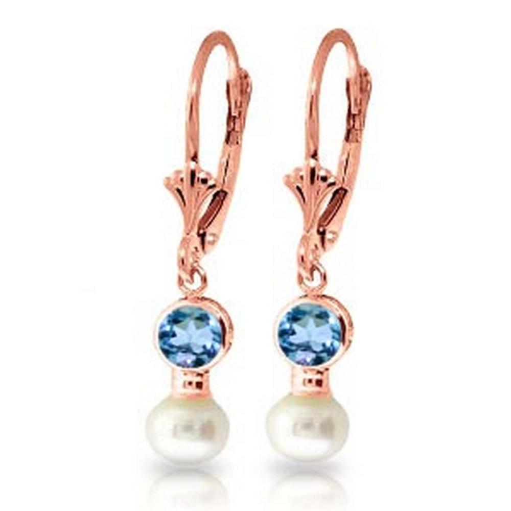 5.2 Carat 14K Solid Rose Gold Leverback Earrings pearl Blue Topaz #IRS91734