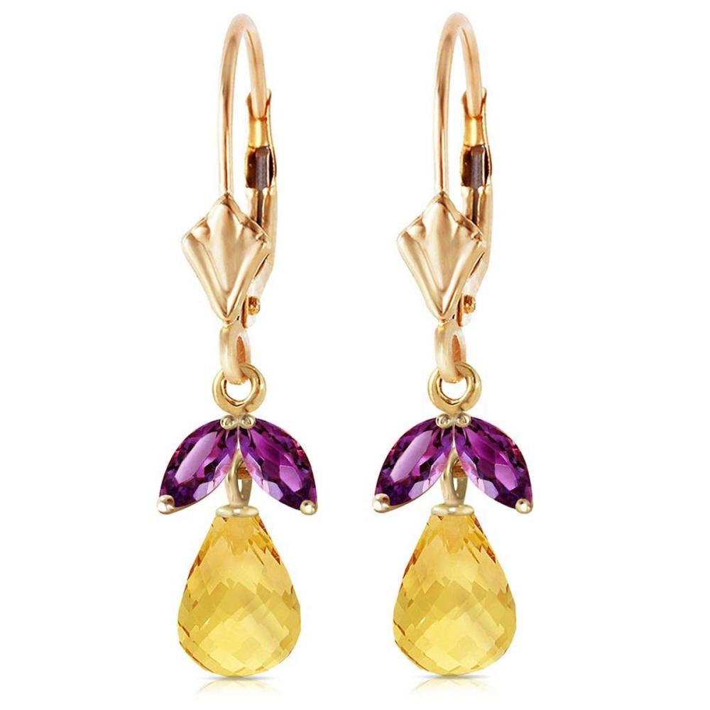 3.4 Carat 14K Solid Gold Leverback Earrings Citrine Amethyst #IRS92720
