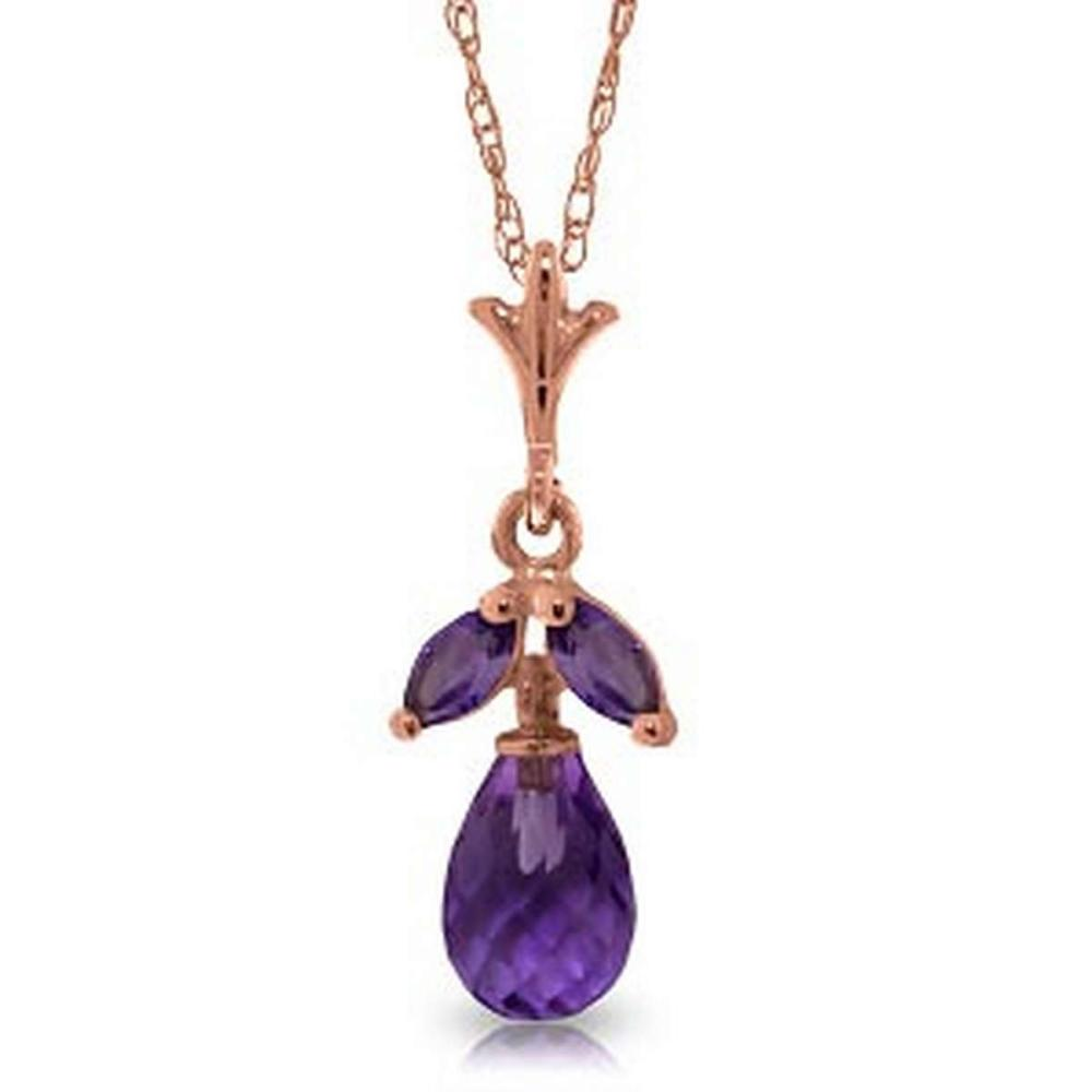14K Solid Rose Gold Necklace with Natural Purple Amethysts #IRS92700