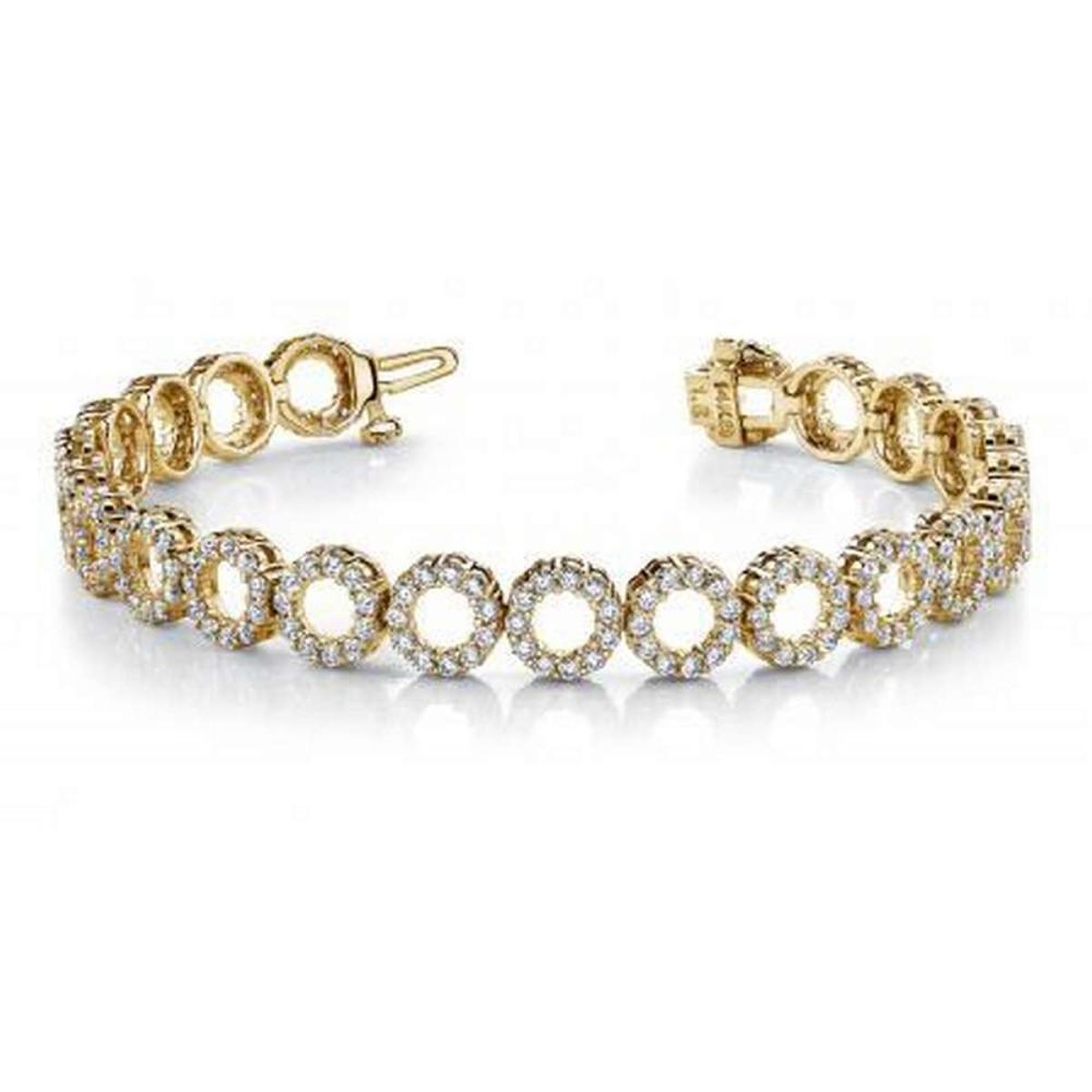 14KT YELLOW GOLD 3 CTW G-H VS2/SI1 DYNAMIC DIAMOND CIRCLE LINK BRACELET #IRS20190