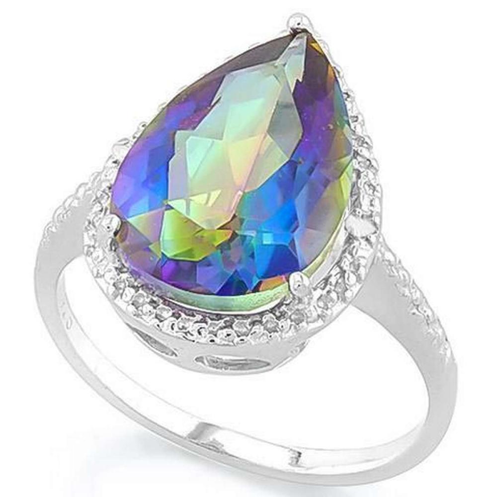 5 CARAT OCEAN MYSTIC GEMSTONE DIAMOND 925 STERLING SILVER RING #IRS36188