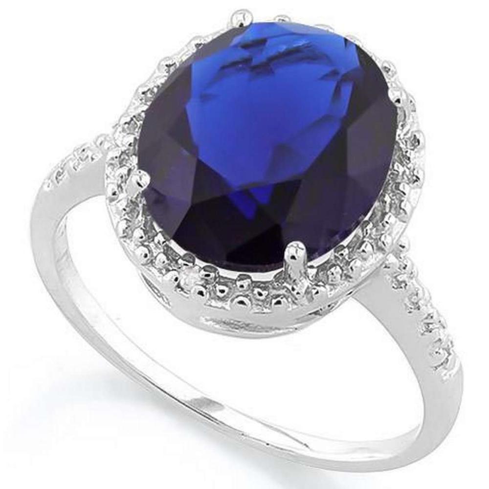 5 CARAT CREATED BLUE SAPPHIRE GENUINE DIAMOND 925 STERLING SILVER RING #IRS36202