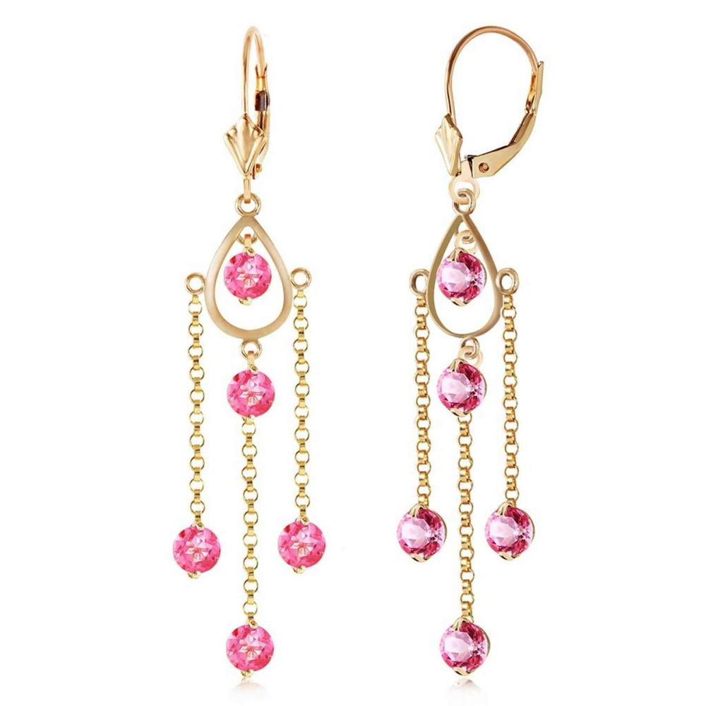 3 CTW 14K Solid Gold Gilded Age Pink Topaz Earrings #IRS92570