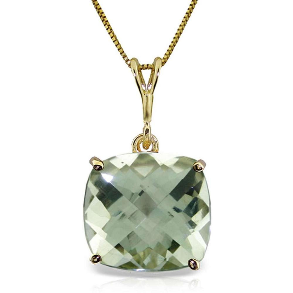 3.6 Carat 14K Solid Gold Necklace Natural Checkerboard Cut Green Amethyst #IRS92723