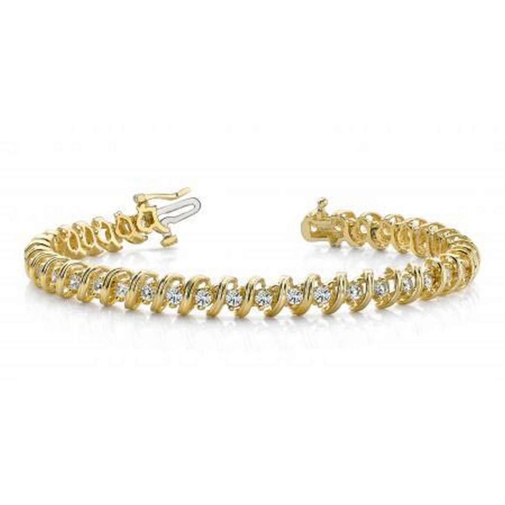 14KT YELLOW GOLD 1 CTW G-H SI2/SI3 FACETED SPIRAL LINK DIAMOND TENNIS BRACELET #IRS20255