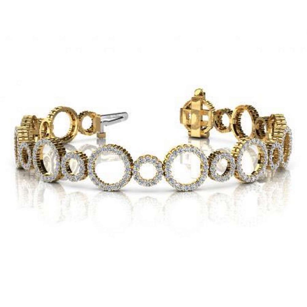 14KT YELLOW GOLD 4 CTW G-H SI2/SI3 ALTERNATING DIAMOND CIRCLE LINK BRACELET #IRS20289