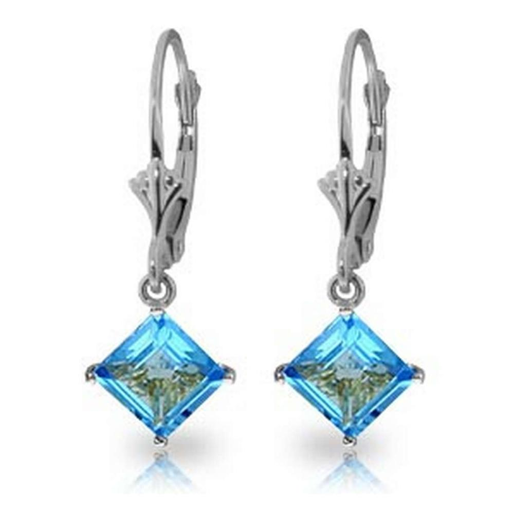 3.2 Carat 14K Solid White Gold Victoire Blue Topaz Earrings #IRS92251