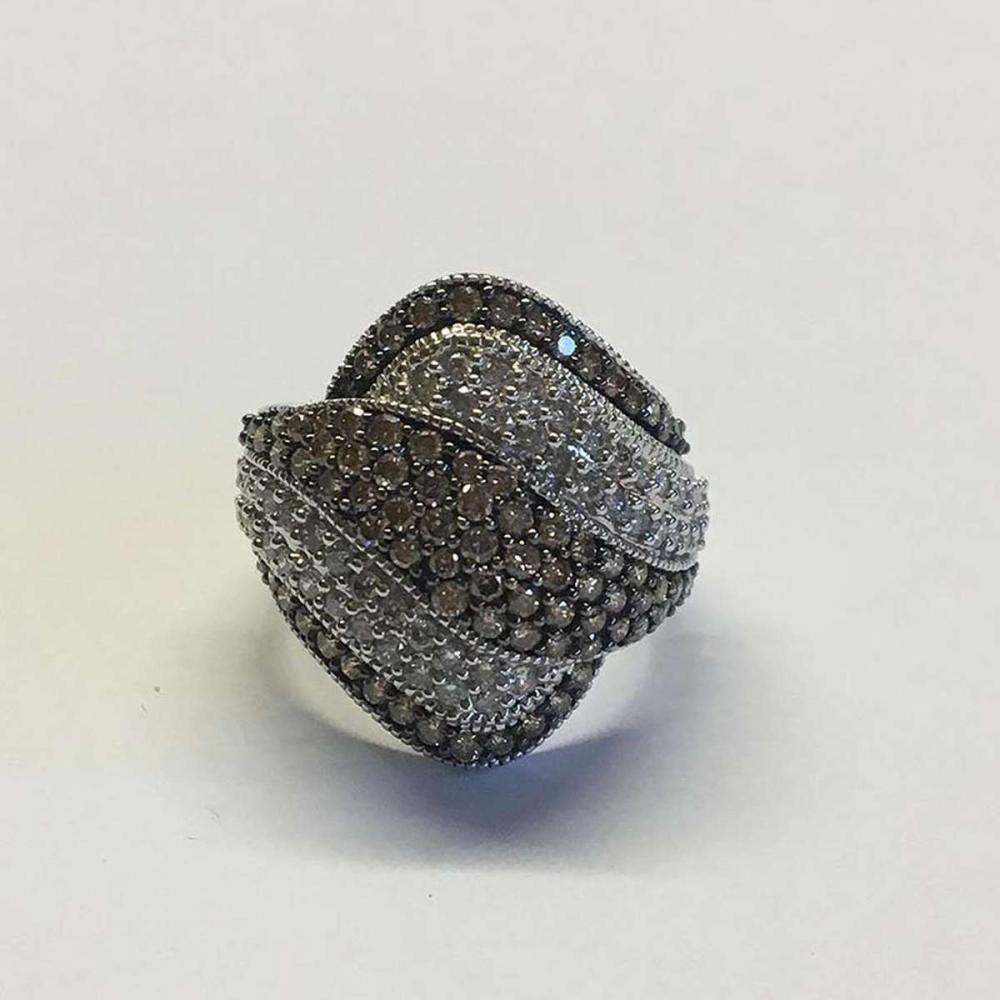CERTIFIED 2.00 CTW CHOCOLATE AND WHITE DIAMOND RING IN 14K WHITE GOLD #IRS45619