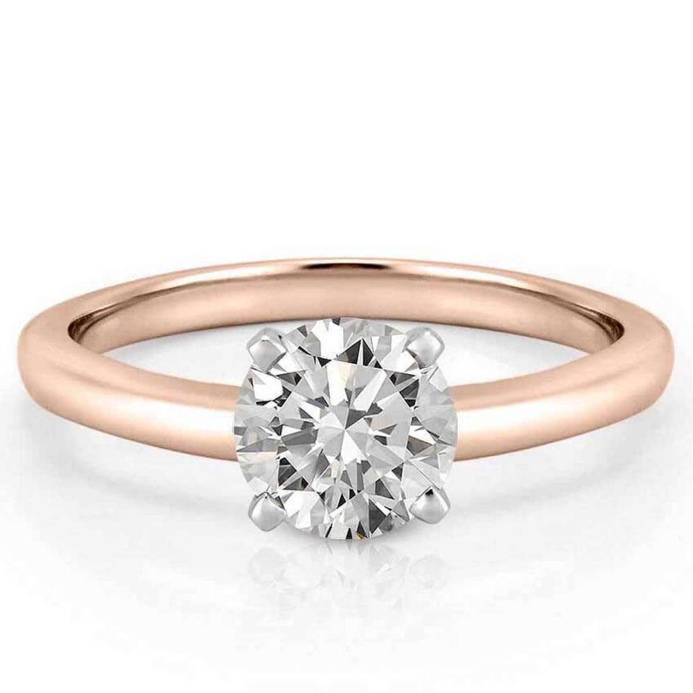 CERTIFIED 0.9 CTW D/SI1 ROUND DIAMOND SOLITAIRE RING IN 14K ROSE GOLD #IRS25306
