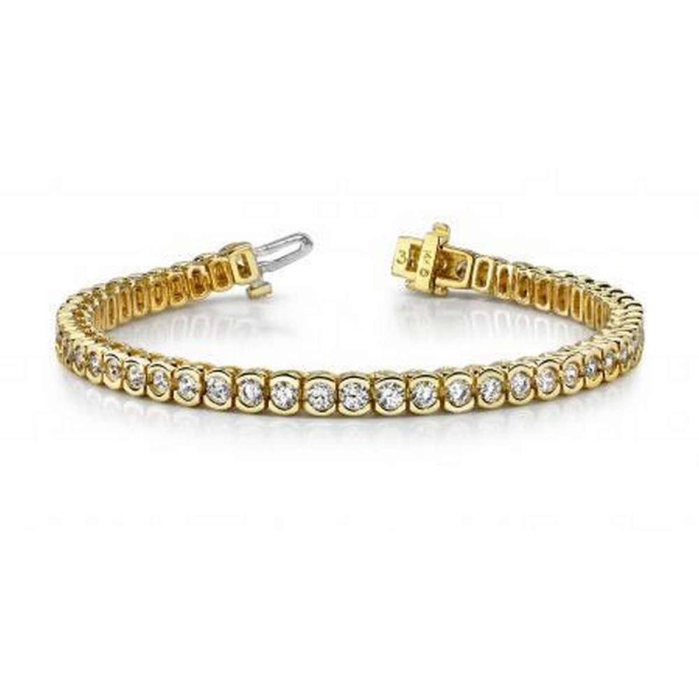 14KT YELLOW GOLD 2 CTW G-H SI2/SI3 PILLOW BEZEL SET DIAMOND TENNIS BRACELET #IRS20210