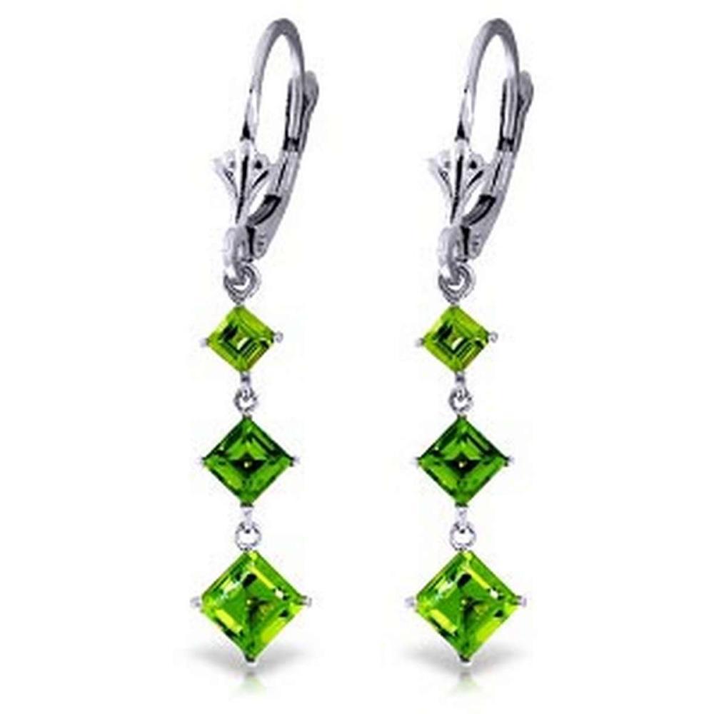 4.79 CTW 14K Solid White Gold Chandelier Earrings Peridot #IRS91708