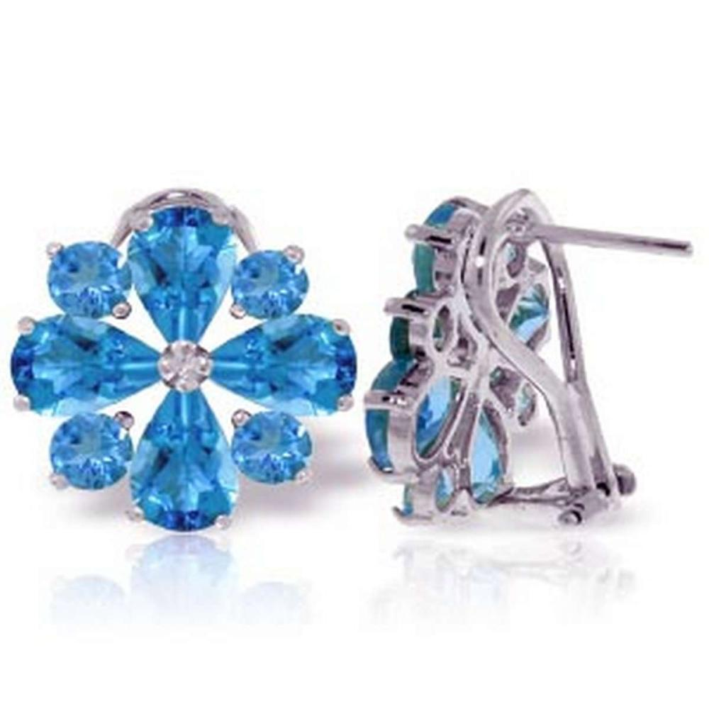 4.85 CTW 14K Solid White Gold Renowned Blue Topaz Earrings #IRS92620